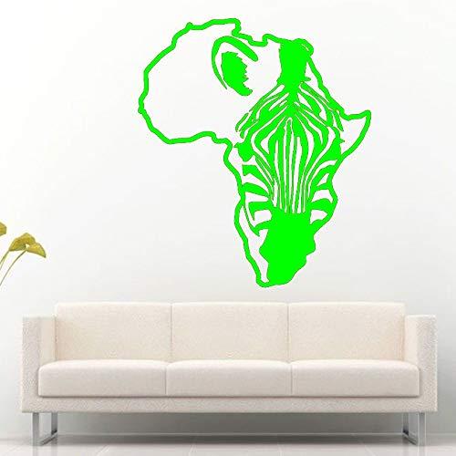 zqyjhkou Afrika Karte Kontinent Umriss Zebra Pferd Wandaufkleber Für Wohnzimmer Kinder Kindergarten Vinyl Tapete Wandbilder Aufkleber 4 57X63 cm