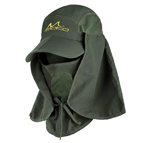 MoKo MoKo Sonnenhut mit UV Schutz - Sommerhut Outdoor Sonnenschutz Cap mit Abnehmbarer Maske und Nackenschutz Schnell Trocken UPF 30+ Fischerhut Netz + Atmungsaktiv für Männer und Frauen, Army Grün