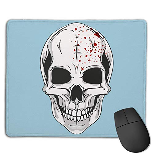 keiwiornb Mouse Pad Halloween Skull Logo Rectangle Rubber Mousepad 8.66 X 7.09 Inch Gaming Mouse Pad with Black Lock ()