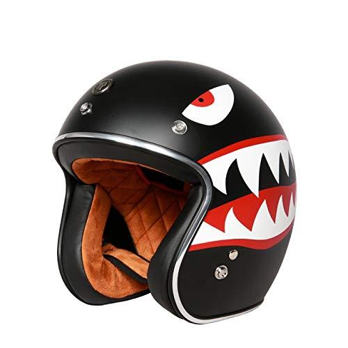 LanLan Protezione per motociclista Casco aperto unisex stile vintage con visiera interna Capacete - Squalo M