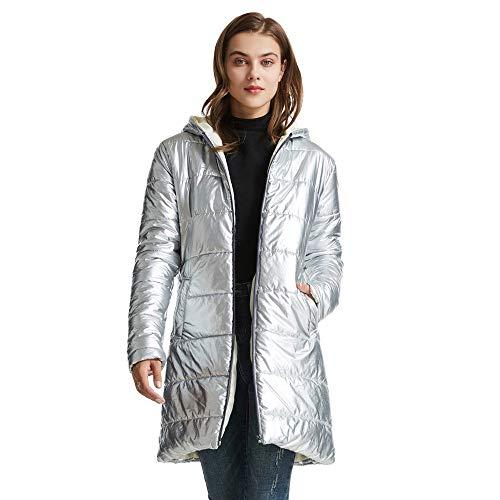 Doudoune Femme À Capuche Ultra Léger Long Puffer Manteau d'hiver Argenté S