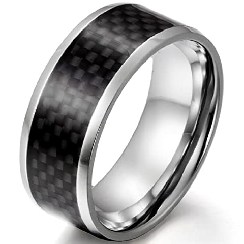 JewelryWe 9mm Men's Black Carbon Fiber Inlay Stainless Steel Ring Bridal Engagement Wedding Band (UK Size V)