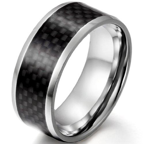 JewelryWe Schmuck 9mm Breite Edelstahl Herren-Ring Schwarz Kohlenstoff Faser Inlay Verlobung Hochzeit Band Größe 56 (Herren Schwarz Kohlenstoff Faser Ring)
