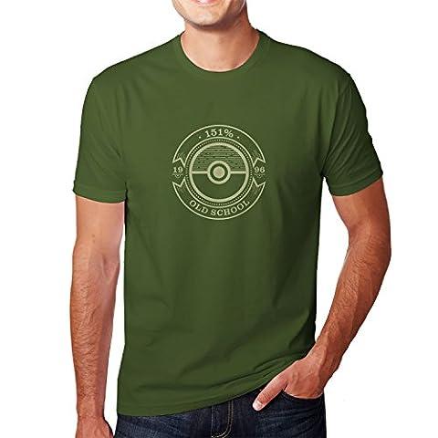 Planet Nerd - Old School - Herren T-Shirt, Größe S, oliv