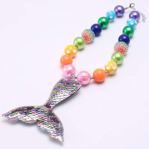 klacebig Meerjungfrau Tai Anhänger Mädchen Multicolor Kaugummi Perlen Halskette Schmuck ()