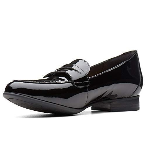 Clarks Un Blush Go Womens Wide Fit Casual Penny Loafers 6 D (m) UK/39,5 EU Schwarz Lack -
