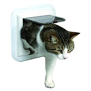 Trixie 4-Way Cat Flap for Glass Doors, 27 x 27 cm, White