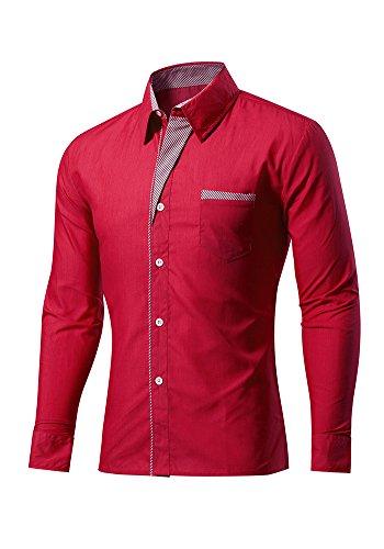 Französisch Manschette-punkt-kragen-hemd (DOOXIUNDI mens slim fit cotton hemd mit tasche (XS, burgund))