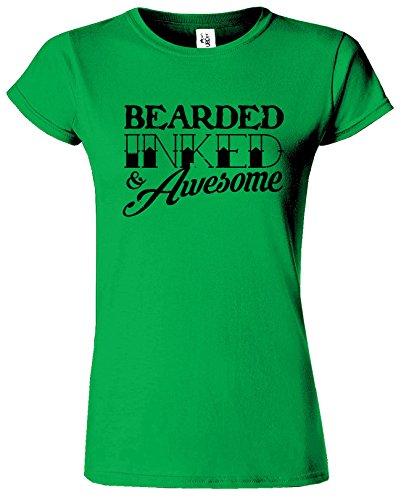 BEARDED INKED Womens T-shirt drôle Fête des pères Café Cadeau Vert Irlandais / Noir Design