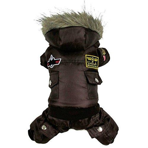 Pet Puppy Hund Winter Warm Hoodie Coat Jacke Jumpsuits Kleidung Kostüm - Braun Shepherd Kostüm