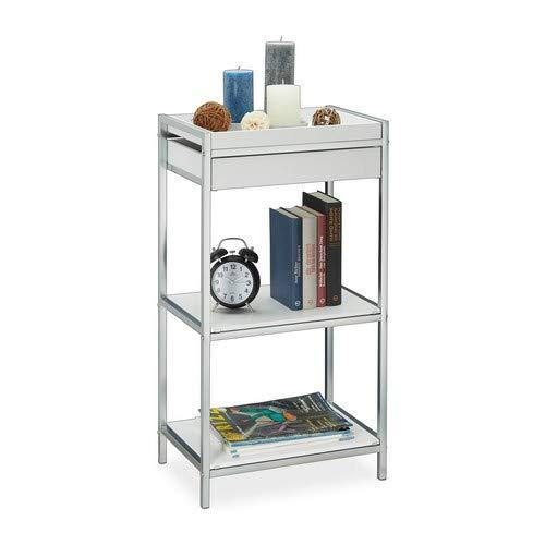 Relaxdays Standregal Küche, mit abnehmbarem Tablett, Badregal stehend, offenes Küchenregal, HBT 83,5 x 44 x 29 cm, weiß