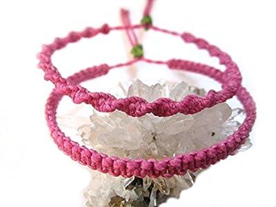 X2 Bracelets brésiliens/amitié/duo/bohème/unisex/surf/en fil tissage plat et spirale rose fuchsia tissés main en macramé avec du fil ciré Réf.PP+PS899