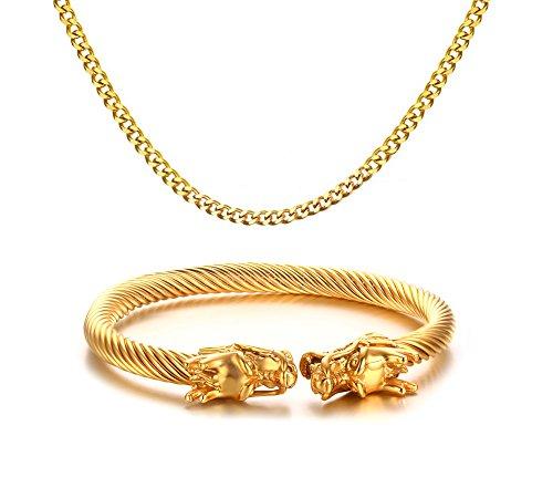 Vnox Herren Edelstahl Drache Twisted Armreif Open Cuff Armband Panzerkette Halskette Schmuck Sets,Gold