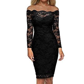 Auxo Damen Langarm Kleider mit Spitze Schulterfreie Elegant Knielang Abend Etuikleid Schwarz EU 36/Etikettgröße S