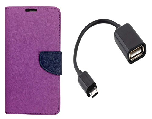 AUX MART Fancy Diary Flip Cover Case For Micromax Canvas Xpress 2 E313 Purple + Micro USB OTG Cable Attach Pendrive Card Reader Mouse Keyboard to Tablets Mobile  available at amazon for Rs.229