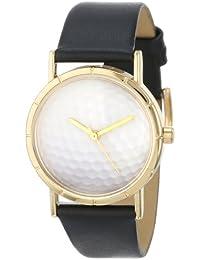 Skurril Uhren Golf lover schwarzem Leder und goldfarbenes Foto Unisex Quarzuhr mit weißem Zifferblatt Analog-Anzeige und-Lederband p-0840009