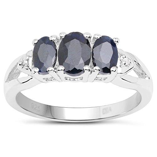 La Collection en Diamant la Saphir : Bague Argent avec 3 pierres de Saphir, set dans les épaules en Diamant, Bague de fiançailles Taille Bague 52