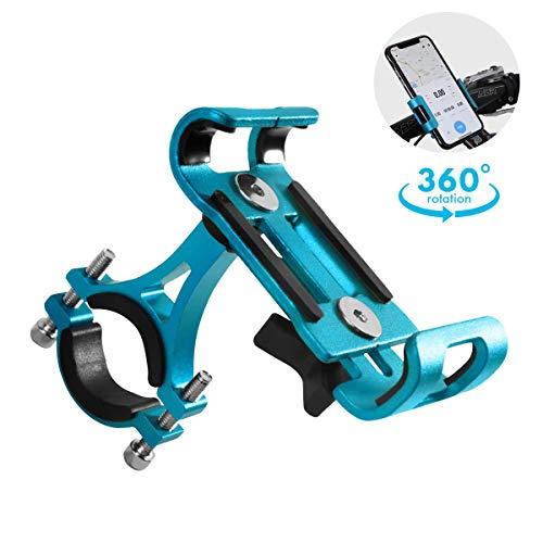 usmley Smartphone Halterung Fahrrad,Universal Anti-Shake Handyhalterung Motorrad, 360 Drehen, Fahrrad Lenkerhalter für Für 4,0-6,5 Zoll Smartphone GPS Andere Geräte (Blau)