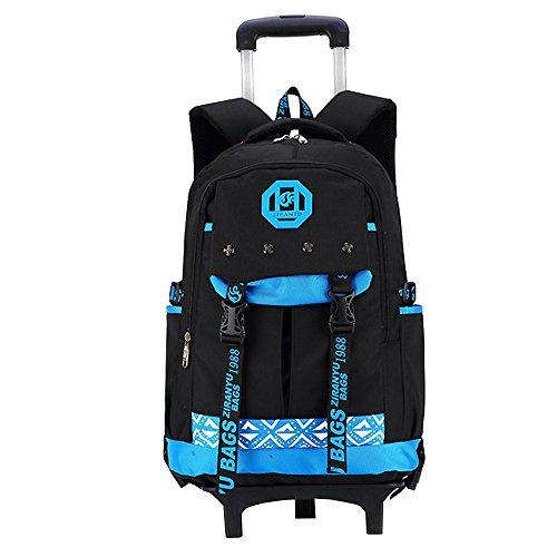 Zevonda impermeabile zaino trolley scuola borsa tre ruote leva borsa zaino estraibile per i bambini e scolari, blu