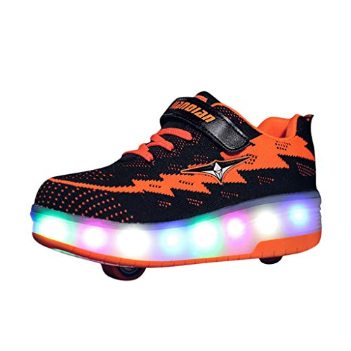 School Shoes for Kids,Boys & Girls LED Light Up Luminous Trainers Sneakers Shoes, Children Sport Running Casual Shoes,Toddler Light Up LED Wheels Skate USB Shoes Fashion Kids Sneakers by YONSIN