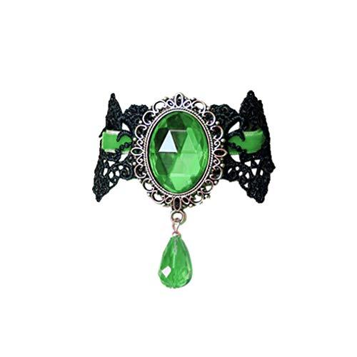 (diadia Retro handgefertigt Choker für Frauen gelegt werden ️ Gothic schwarz Spitze Halskette für Halloween Punk Kostüm Party Royal Court Vampire Choker, Green-Grün, Length:13~20cm)