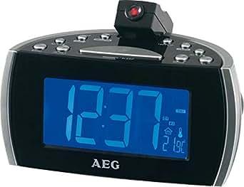 Radiowecker mit Projektion an Wand oder Decke, Projektionswecker, Uhrenradio mit Einschlafautomatik, LCD-Display, Temperatur-, Datum- und Wochentaganzeige,