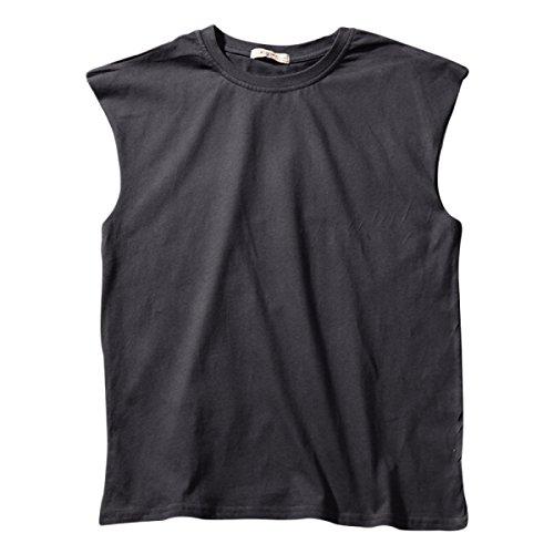 RENHONG T-shirt Senza Maniche Maniche Da Uomo Fitness Sport Basket Beach Cotton Vest Felpa Da Uomo Vest Blue