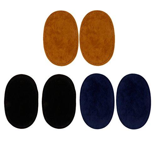 Baoblaze 3 Paar Wildleder Knieflicken Applikation für Ellenbogen zum Aufnähen - Farbe 4 (Applikationen Wildleder)