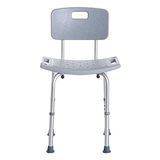 HOMCOM Silla de Ducha Antideslizante y Regulable para Baño WC – Gris y Plata – 55×50.6×67.5-85.5cm (LxAnxAl)