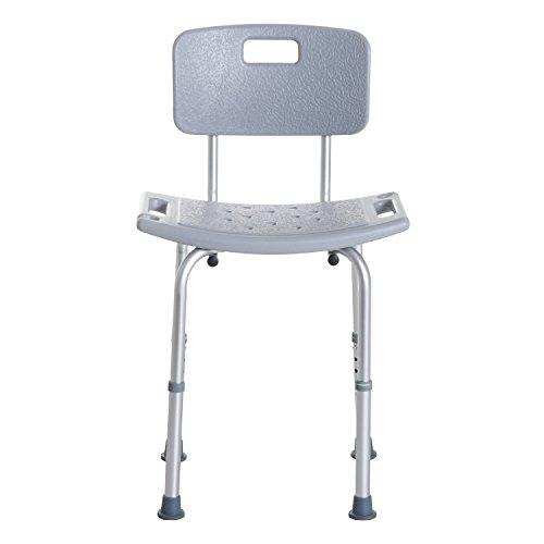 HOMCOM Silla de Ducha Antideslizante y Regulable para Baño WC - Gris y Plata - 55x50.6x67.5-85.5cm (LxAnxAl)