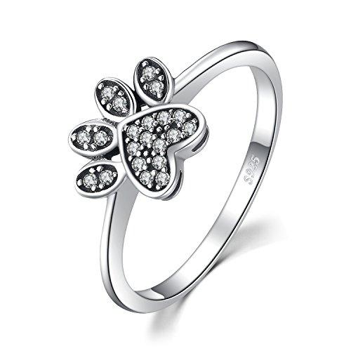 JewelryPalace Fingerabdruck Pflastern 0.2ct Zirkonia Ring 925 Sterling Silber Vintage Hund Pfote (Silber Ring Sterling Pfote)