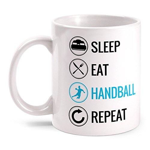 Fashionalarm Tasse Sleep Eat Handball Repeat beidseitig bedruckt mit lustigem Motiv | Geschenk Idee Handballspieler Handballer Handball spielen, Farbe:weiß