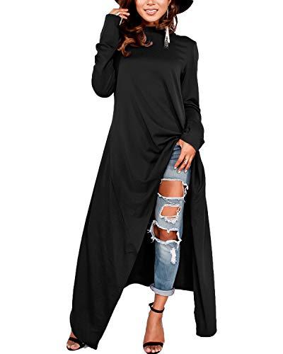 ZANZEA Damen Langarm Kapuzenpullover Asymmetrisch Lange Hoodies Shirts Oversize Oberteile 01-schwarz Medium