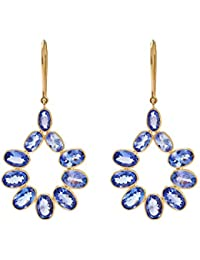Gehna 18KT Yellow Gold and Tanzanite Drop Earrings for Women