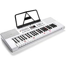 Vangoa VGK4901 Lighted 49 Keys White Electronic Piano Keyboard with Mic & Power Adapter