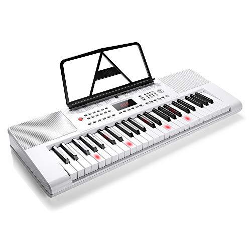 Vangoa VGK4901Vangoa Elektronische Klaviertastatur, 49 Tasten, LCD-Display mit Mikrofon und Netzadapter weiß