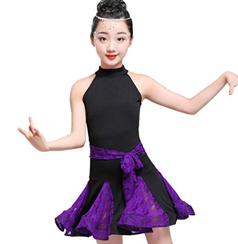 YZLL Kind Latin Dance Kostüme Latin Rumba Dance Dress Quaste Latin Dance Dress Tanzwettbewerb Kostüme schwarz lila,Purple,XXL (Kinder Latin Dance Kostüm)