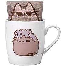 Thumbs Up Calcetines y taza de café de cerámica blanca personajes Pusheen and Stormy, de