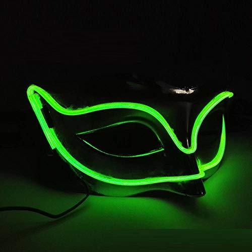 WEII Halloween Glühende Maske Venedig Kaltlicht Leuchtende Maske Party Fuchs Leuchtende Maske,Leuchtendes Grü,Einheitsgröße