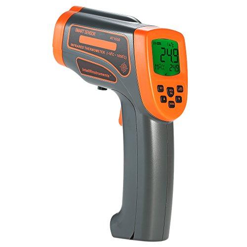KKmoon 18~1650°C Infrarot Thermometer mit Werkzeugkoffer【Mini Tragbar USB Berührungslose Pyrometer/mit LCD Hintergrundbeleuchtung/Datenspeicherung/Centigrade Fahrenheit Einstellbar/Grau Orange 】