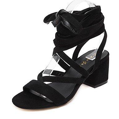 LvYuan Da donna-Sandali-Formale-Club Shoes-Quadrato-Felpato-Nero Marrone chiaro Black