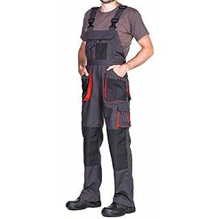 Arbeitslatzhose Herren mit Kniepolstertaschen Schwarz Оrange Größen S-XXXL Arbeitshose Latzhose arbeits Latzhose Qualitat (M)