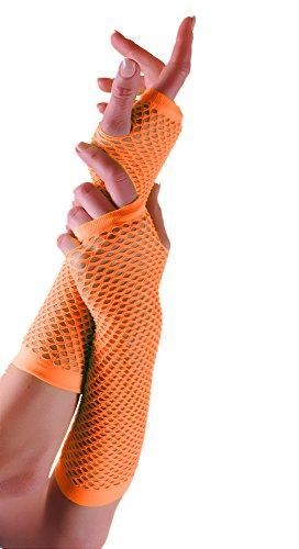 (Erwachsene kurze und lange Fingerlose Fisnet Handschuhe Raves Parties 1980s Fancy Dress - Pick & Mix (Orange - lang))