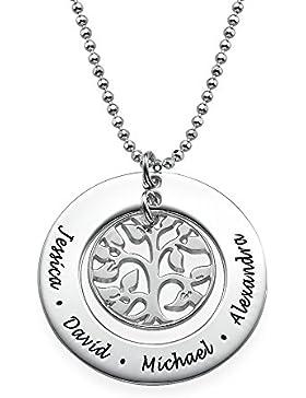 Geschenk für die Mutter- Personalisierte Familien Stammbaum Halskette - graviert mit Ihren eigenen 4 Namen