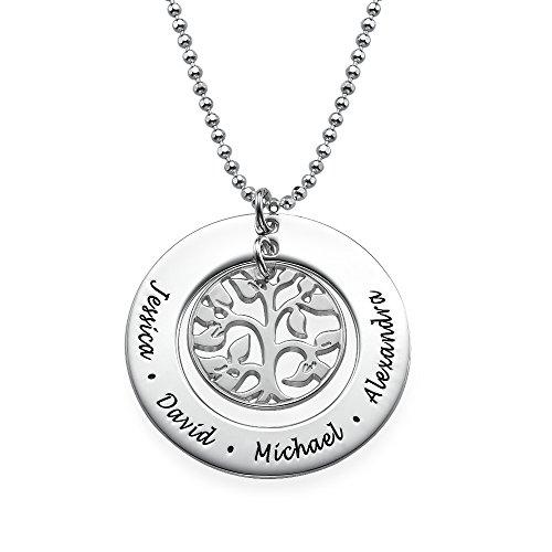 Familie Schmuck Personalisierte (Familien Stammbaum Halskette - Personalisiert mit Ihrem eigenen 4 Wunschnamen!)