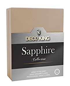 DecoKing 19450 Wasserbett Spannbettlaken 140 x 200 - 160 x 200 cm Jersey Baumwolle Spannbetttuch Sapphire Collection, beige