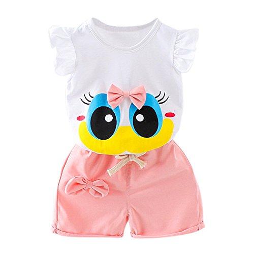 Blaward Baby Mädchen Sommer Kleidungs Outfits Baumwolle Shorts Cartoon große Augen niedlich Bogen Knoten Tops und Kurze Hosen - Top 3 Bogen