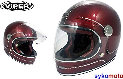 ViPER Rider SYKOMOTO F656 INTEGRALHELM GLASFASER RETRO VINTAGE ECE ZERTIFIZIERT GRINGO CUSTOM CHOPPER BOBBER KASTANIENBRAUN CHEQUER (L (59-60 CM))