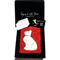 Stone Cat Valentine's Gift - With Box & Message Card - Handmade in Italy