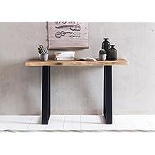 Consola Mesa Gaya de tronco Consola de madera maciza acacia Secreter 120x 45cm Algodón borde escritorio rústico tocador